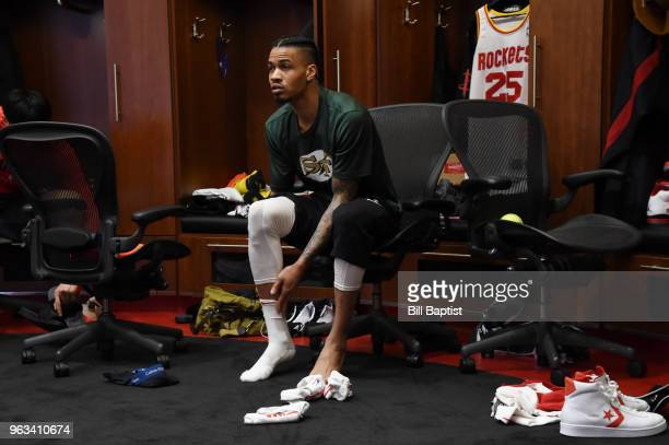 Gerald Green of the Houston Rockets looks on in the locker room prior to Game Seven of the Western Conference Finals during the 2018 NBA Playoffs...