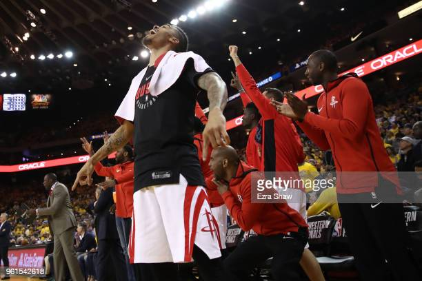 Gerald Green of the Houston Rockets reacts on the bench to a play against the Golden State Warriors during Game Four of the Western Conference Finals...