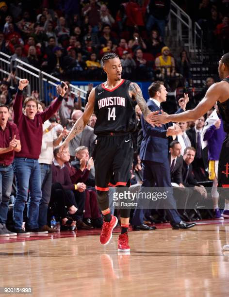 Gerald Green of the Houston Rockets shakes hands during the game against the Los Angeles Lakers after tieing the game into the first overtime on...