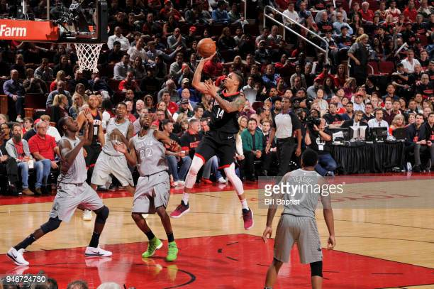 Gerald Green of the Houston Rockets shoots the ball against the Minnesota Timberwolves in Game One of Round One of the 2018 NBA Playoffs on April 15...