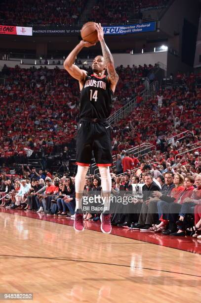Gerald Green of the Houston Rockets shoots the ball against the Minnesota Timberwolves during Game Two of Round One of the 2018 NBA Playoffs on April...