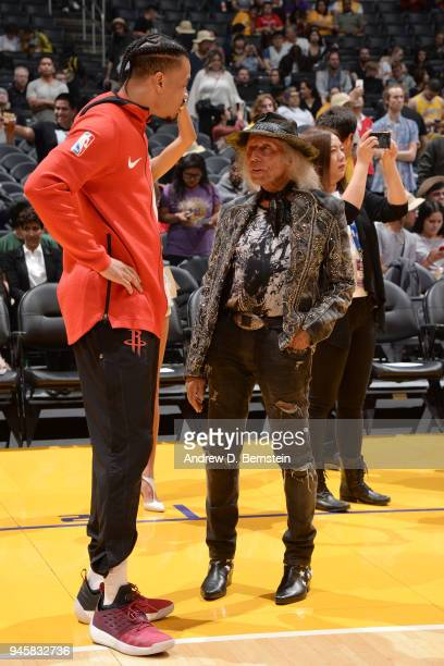 Gerald Green of the Houston Rockets talks to James Goldstein before the game against the Los Angeles Lakers on April 10 2017 at STAPLES Center in Los...