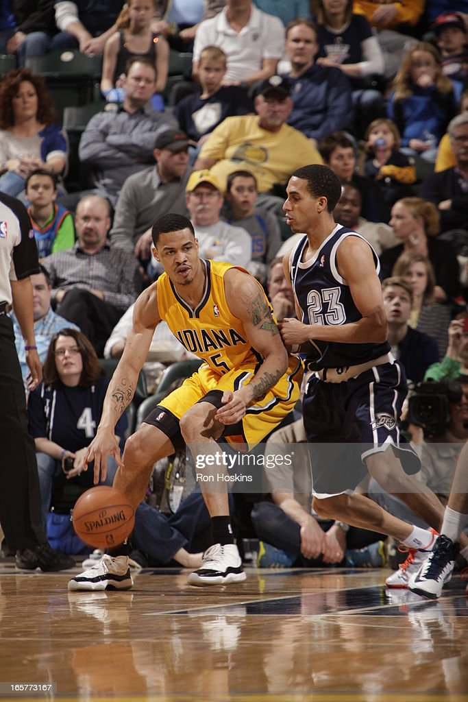 Gerald Green of the Indiana Pacers controls the ball against