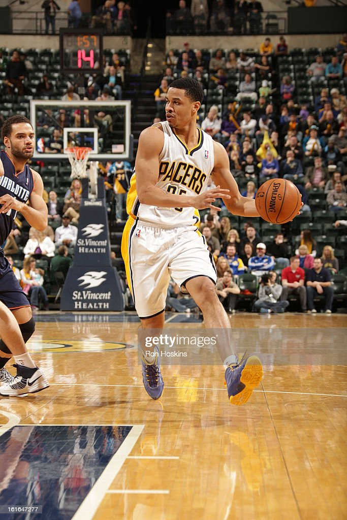 Gerald Green #25 of the Indiana Pacers drives to the basket against the Charlotte Bobcats on February 13, 2013 at Bankers Life Fieldhouse in Indianapolis, Indiana.