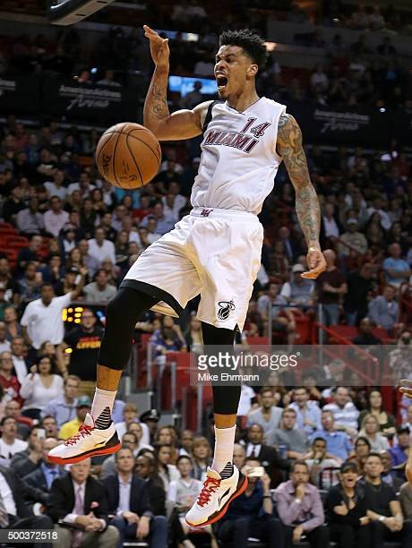 Gerald Green of the Miami Heat dunks during a game against the Washington Wizards at American Airlines Arena on December 7 2015 in Miami Florida NOTE...
