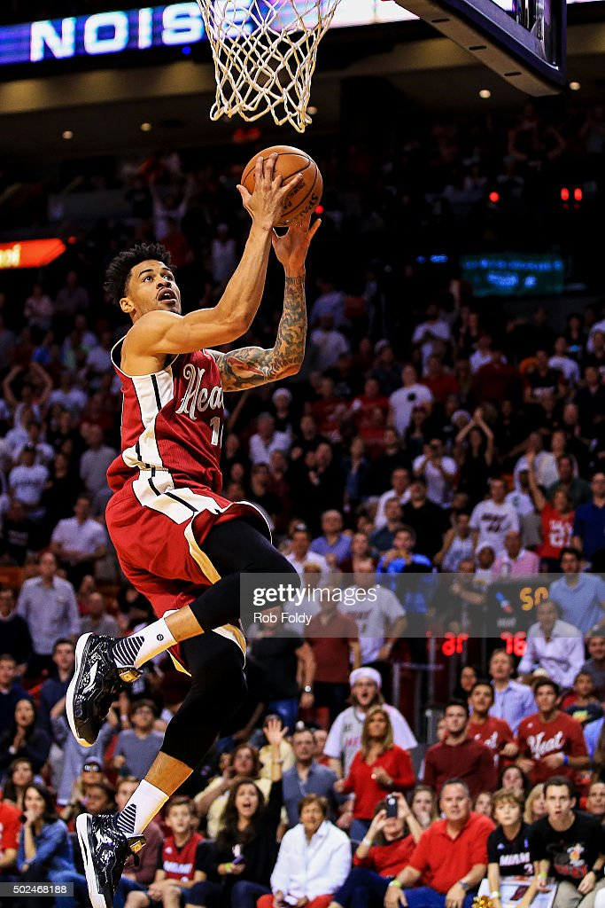 Gerald Green #14 of the Miami Heat in action during the game against the New Orleans Pelicans at American Airlines Arena on December 25, 2015 in Miami, Florida.
