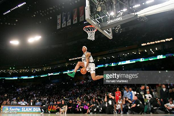 Gerald Green of the Minnesota Timberwolves completes a dunk in the Sprite Slam Dunk Contest part of 2008 NBA AllStar Weekend at the New Orleans Arena...