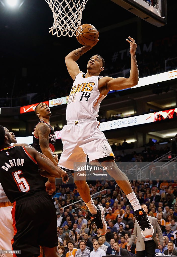 Gerald Green #14 of the Phoenix Suns attempts a slam dunk against the Portland Trail Blazers during the second half of the NBA game at US Airways Center on January 21, 2015 in Phoenix, Arizona. The Suns defeated the Trail Blazers 118-113.
