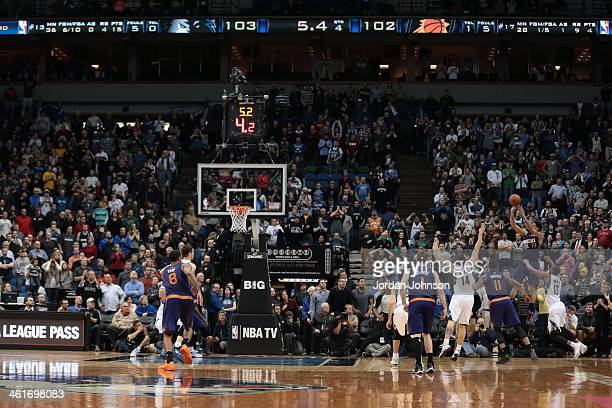Gerald Green of the Phoenix Suns hits the game winning shot against the Minnesota Timberwolves on January 8 2014 at Target Center in Minneapolis...