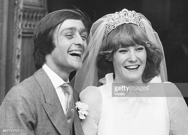 Gerald Grosvenor 6th Duke of Westminster and his new wife Natalia Phillips smiling happily on their wedding day outside St Mary's Church Luton...