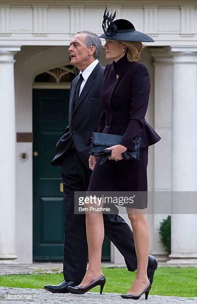 Gerald Grosvenor Duke Of Westminster and Natalia Grosvenor Duchess of Westminster attend a requiem mass for Hugh van Cutsem who passed away on...