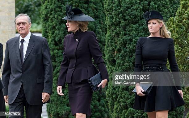 Gerald Grosvenor Duke Of Westminster and Natalia Grosvenor Duchess of Westminster with Lady Viola Grosvenor attend a requiem mass for Hugh van Cutsem...