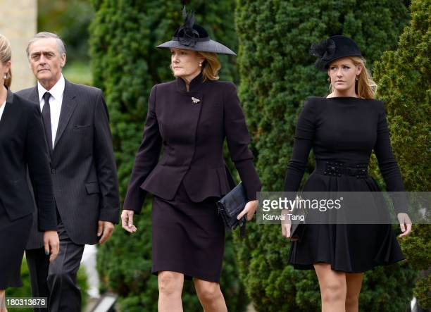 Gerald Grosvenor Duke Of Westminster and Natalia Grosvenor Duchess of Westminster with Lady Viola Grosvenor attend a Requiem Mass for Hugh van Cutsem...