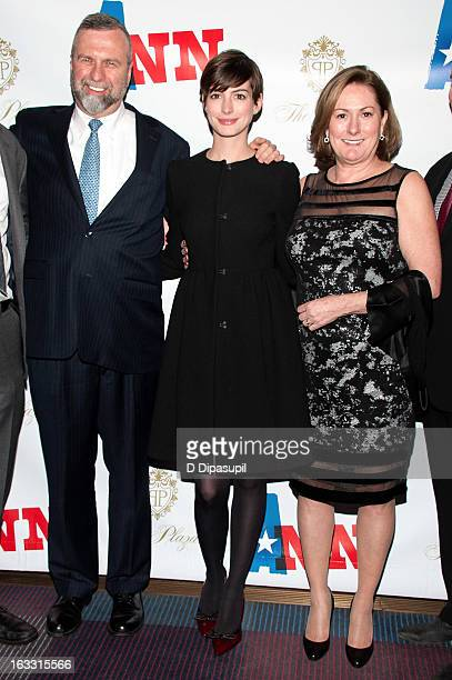 Gerald Hathaway Anne Hathaway and Kate McCauley Hathaway attend the opening night of Ann at Vivian Beaumont Theatre at Lincoln Center on March 7 2013...