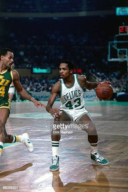 Gerald Henderson of the Boston Celtics looks to make a move against the Utah Jazz during an NBA game played in 1984 at the Boston Garden in Boston...