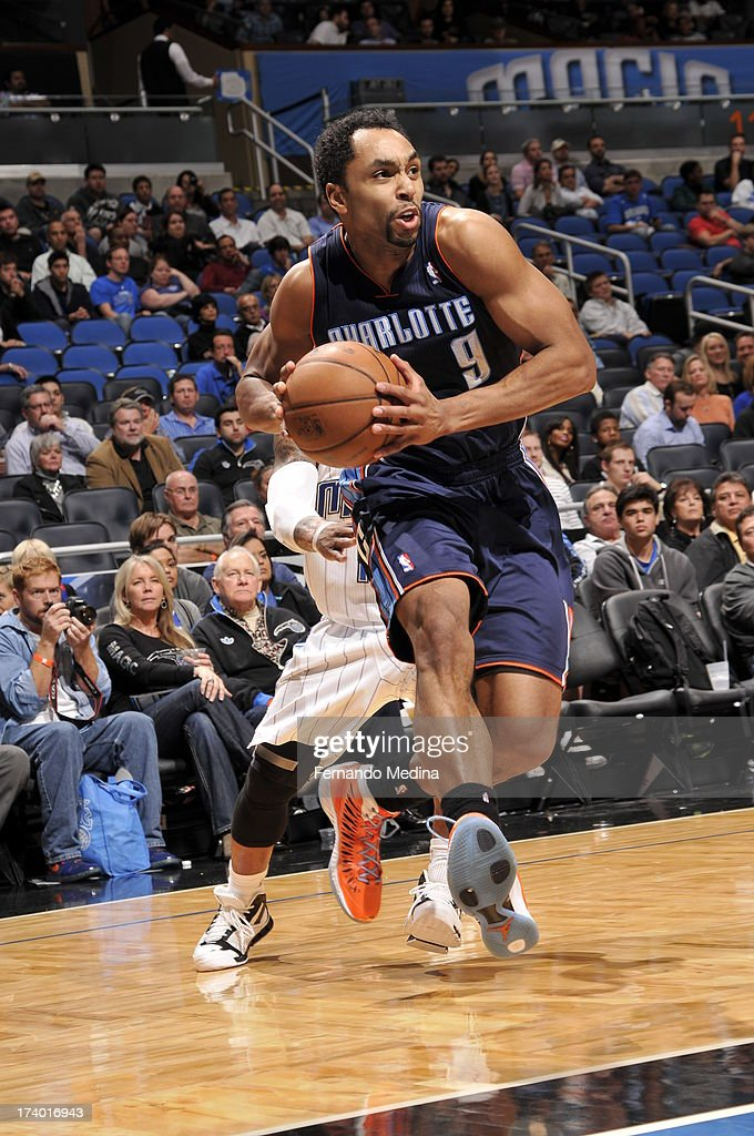 Gerald Henderson #9 of the Charlotte Bobcats drives against the Orlando Magic during the game on February 19, 2013 at Amway Center in Orlando, Florida.