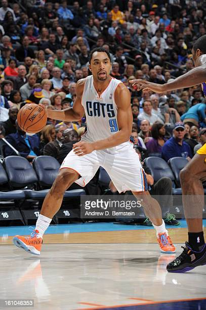 Gerald Henderson of the Charlotte Bobcats drives to the basket against the Los Angeles Lakers on February 8 2013 at the Time Warner Cable Arena in...