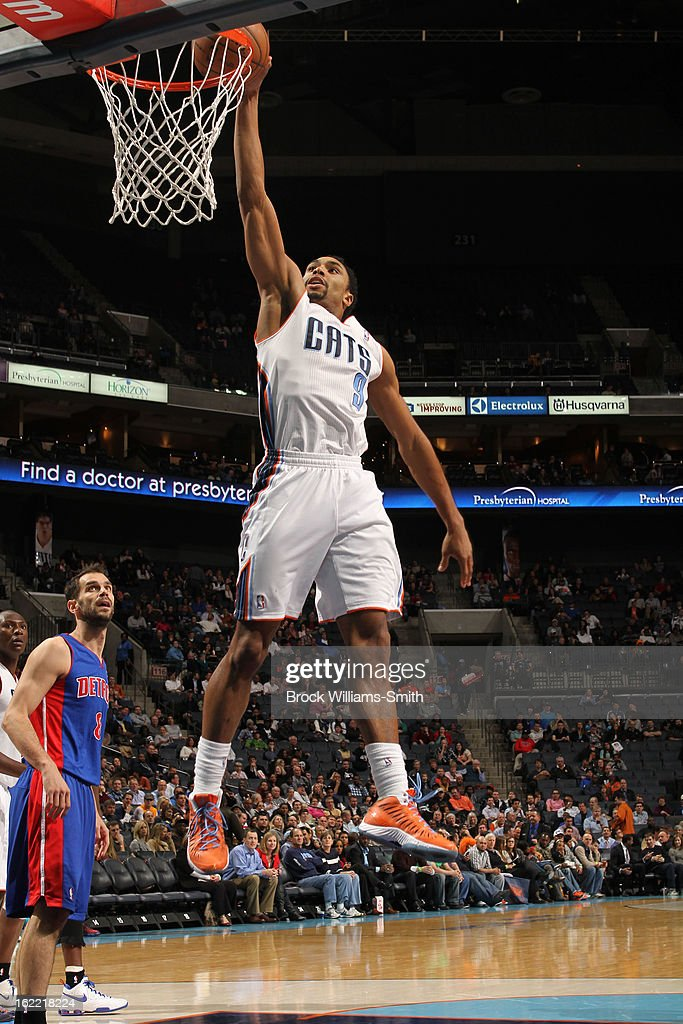 Gerald Henderson #9 of the Charlotte Bobcats dunks against the Detroit Pistons at the Time Warner Cable Arena on February 20, 2013 in Charlotte, North Carolina.