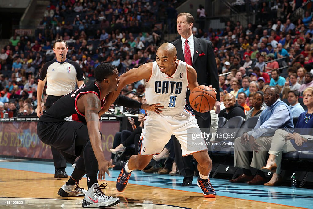 Gerald Henderson #9 of the Charlotte Bobcats handles the ball against the Portland Trail Blazers during the game at the Time Warner Cable Arena on March 22, 2014 in Charlotte, North Carolina.