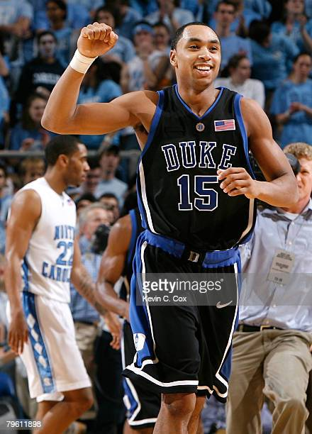 Gerald Henderson of the Duke Blue Devils celebrates their 8978 win over the North Carolina Tar Heels at the Dean E Smith Center on February 6 2008 in...