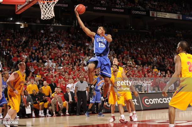 Gerald Henderson of the Duke Blue Devils drives to the hoop against the Maryland Terrapins on February 25 2009 at the Comcast Center in College Park...