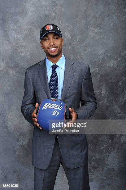 Gerald Henderson selected number twelve overall by the Charlotte Bobcats poses for a portrait during the 2009 NBA Draft on June 25 2009 at the WaMu...