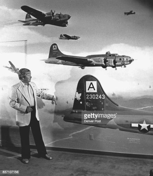 Gerald Hillyard Jr has adorned his living room wall with a Robert Beckmann mural of the Oct 14 B17 raid over Schewinfurt Germany to destroy the ball...