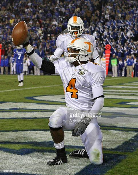 Gerald Jones of the Tennessee Volunteers celebrates after catching a touchdown pass in the first overtime of the SEC game against the Kentucky...