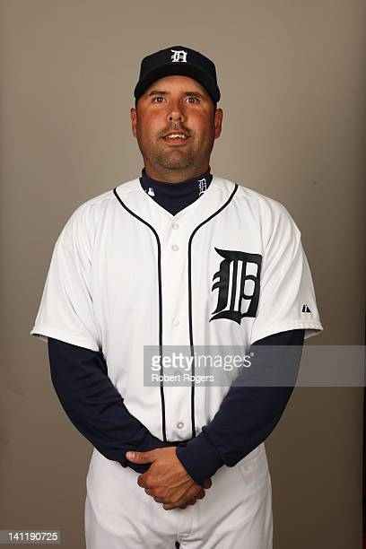 Gerald Laird of the Detroit Tigers poses during Photo Day on Tuesday February 28 2012 at Joker Marchant Stadium in Lakeland Florida