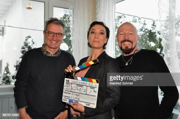 Gerald Liegel Ursula Strauss Gero Lasnig pose during the tv series 'Schnell ermittelt' On Set Photo Call at Schutzhaus am Schafberg on November 30...