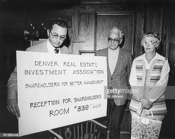 APR 17 1974 APR 19 1974 APR 21 1974 Gerald M Greenberg left puts up invitation in hotel Lobby Shareholders arriving at Stouffer's Denver Inn for...