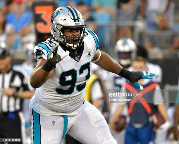 Gerald McCoy of the Carolina Panthers against the Buffalo Bills during the third quarter of their preseason game at Bank of America Stadium on August...