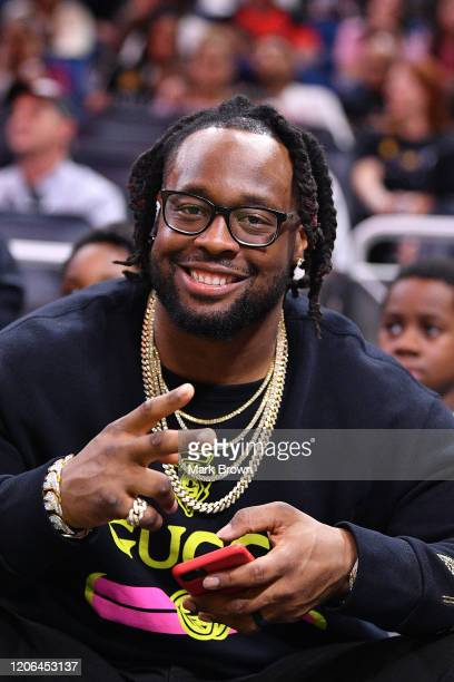 Gerald McCoy of the Carolina Panthers attends the game between the Orlando Magic and the Atlanta Hawks at Amway Center on February 10 2020 in Orlando...