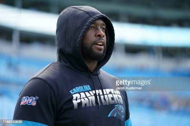 Gerald McCoy of the Carolina Panthers warms up before their game against the Atlanta Falcons at Bank of America Stadium on November 17 2019 in...