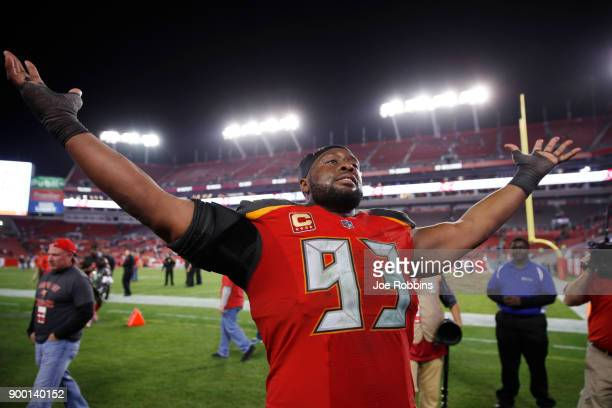 Gerald McCoy of the Tampa Bay Buccaneers celebrates after the game against the New Orleans Saints at Raymond James Stadium on December 31 2017 in...