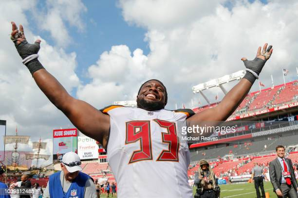 Gerald McCoy of the Tampa Bay Buccaneers reacts after they defeated the Philadelphia Eagles 2721 at Raymond James Stadium on September 16 2018 in...