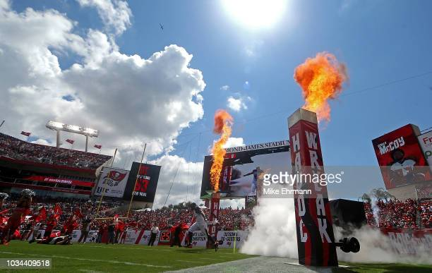Gerald McCoy of the Tampa Bay Buccaneers takes the field during a game against the Philadelphia Eagles at Raymond James Stadium on September 16 2018...
