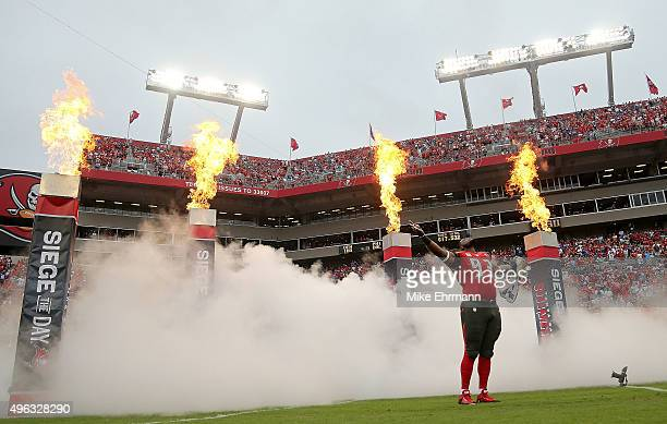 Gerald McCoy of the Tampa Bay Buccaneers takes the field during a game against the New York Giants at Raymond James Stadium on November 8 2015 in...