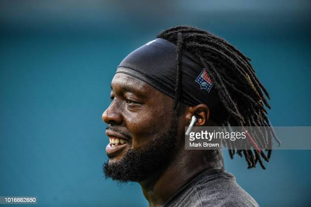Gerald McCoy of the Tampa Bay Buccaneers warms up before a preseason game against the Miami Dolphins at Hard Rock Stadium on August 9 2018 in Miami...