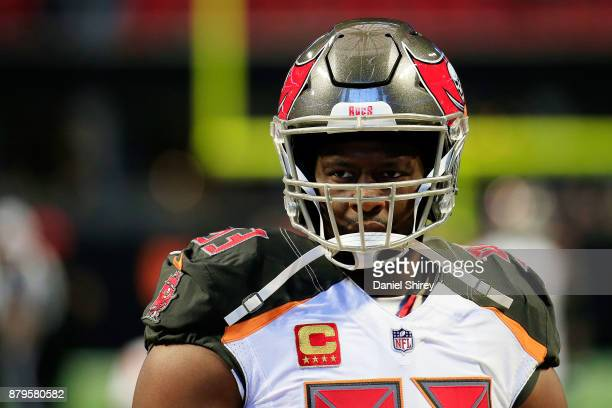 Gerald McCoy of the Tampa Bay Buccaneers warms up prior to the game against the Atlanta Falcons at MercedesBenz Stadium on November 26 2017 in...