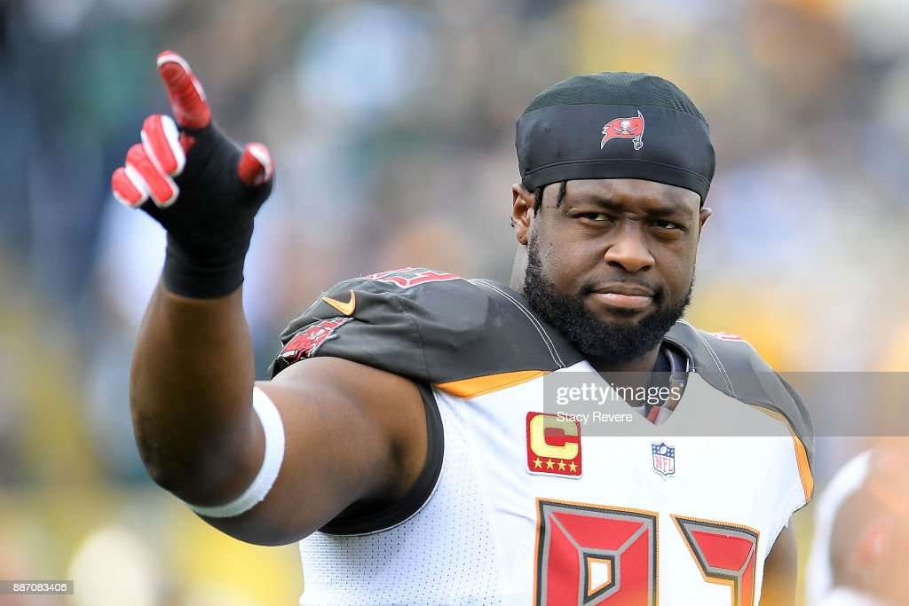 Gerald McCoy of the Tampa Bay Buccaneers waves to fans prior to a ... c25cf02ba