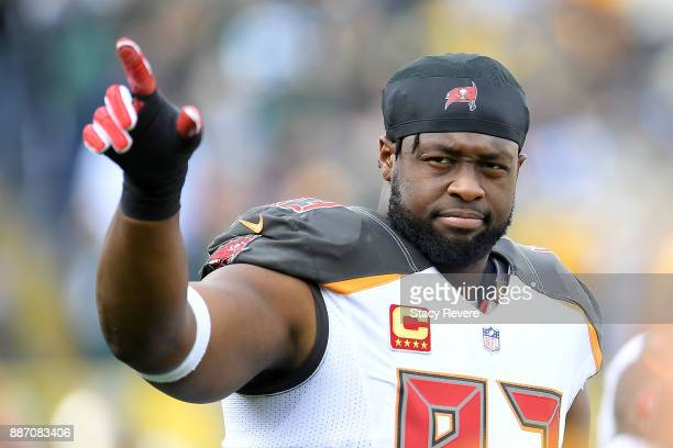 Gerald McCoy of the Tampa Bay Buccaneers waves to fans prior to a game against the Green Bay Packers at Lambeau Field on December 3 2017 in Green Bay...