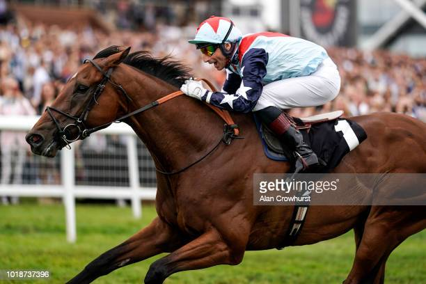 Gerald Mosse riding Sir Dancealot win The Ladyswood Stud Hungerford Stakes at Newbury Racecourse on August 18 2018 in Newbury United Kingdom