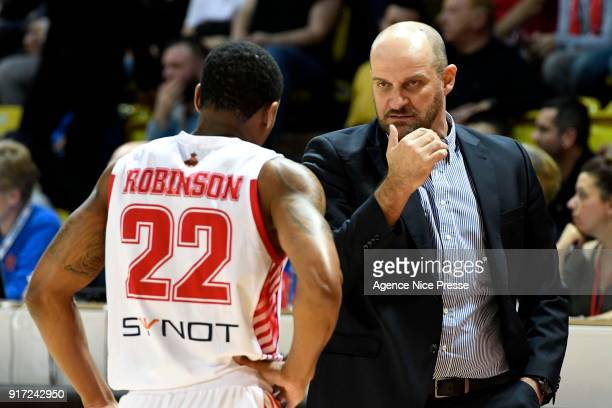 Gerald Robinson and Zvezdan Mitrovic coach of Monaco during the Pro A match between Monaco and Gravelines Dunkerque on February 11 2018 in Monaco...