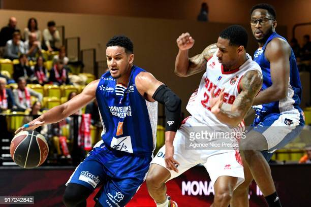 Gerald Robinson of Monaco and Benjamin Sene and Chris Otule of Gravelines during the Pro A match between Monaco and Gravelines Dunkerque on February...