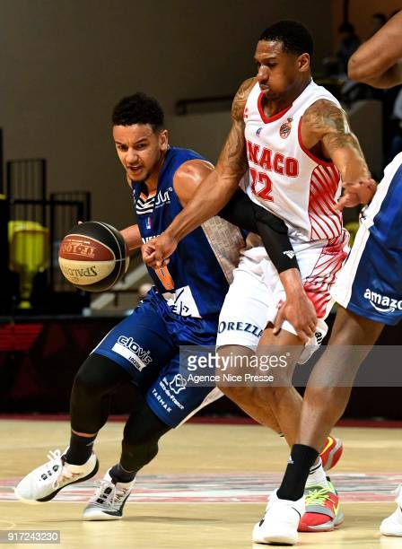 Gerald Robinson of Monaco and Benjamin Sene of Gravelines during the Pro A match between Monaco and Gravelines Dunkerque on February 11 2018 in...