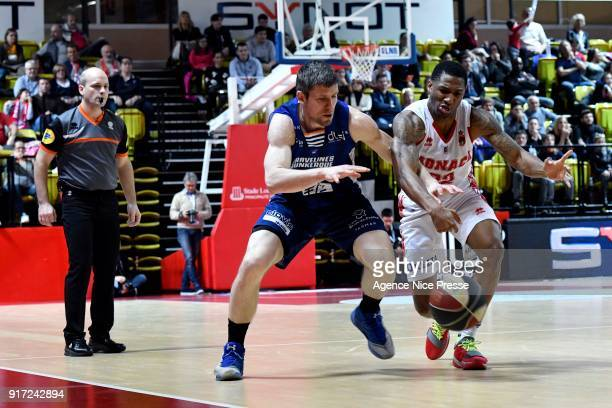 Gerald Robinson of Monaco and Quentin Serron of Gravelines during the Pro A match between Monaco and Gravelines Dunkerque on February 11 2018 in...