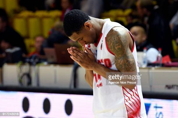 Gerald Robinson of Monaco prays before the game during the Pro A match between Monaco and Gravelines Dunkerque on February 11 2018 in Monaco Monaco