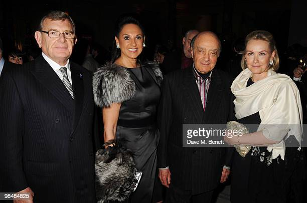 Gerald Ronson with wife Gail and Mohamed AlFayed and wife Heini attend the private view of exhibition 'Grace Kelly Style Icon' at the Victoria Albert...