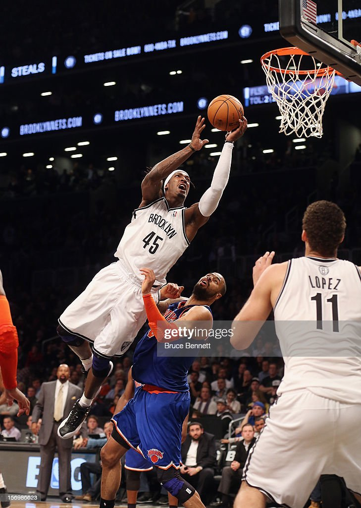 Gerald Wallace #45 of the Brooklyn Nets goes up in overtime but misses the basket against the New York Knicks at the Barclays Center on November 26, 2012 in the Brooklyn borough of New York City.